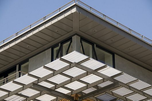 Zoomed-in view of GAL Bar Grating applied as a sunshade at a residence in Oakland, CA