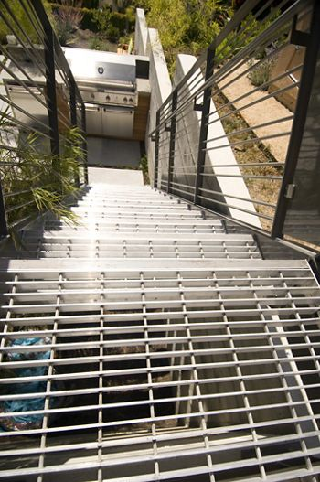 McNICHOLS GAL Bar Grating Stair Treads are used at this Oakland, CA home