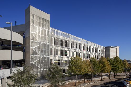View of an Austin, TX parking garage building facade comprised of McNICHOLS Designer Wire Mesh