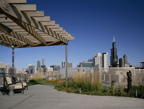 Rooftop view of McNICHOLS Designer Wire Mesh infill panels and Chicago's historic skyline