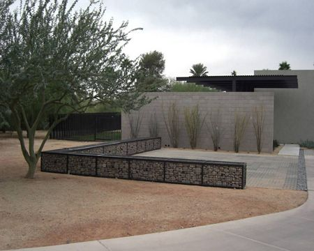 McNICHOLS ECO-ROCK wall containment system is featured in a Phoenix, AZ residence's outdoor space