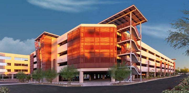 View of Expanded Metal by McNICHOLS applied as a building facade in Scottsdale, AZ