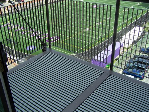 Fiberglass Grating by McNICHOLS is used as a deck surface at a high school sports complex in Washington, DC
