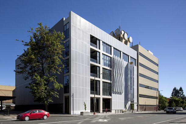 A McNICHOLS Perforated Metal building facade is the main feature of this classy Santa Rosa, CA facility
