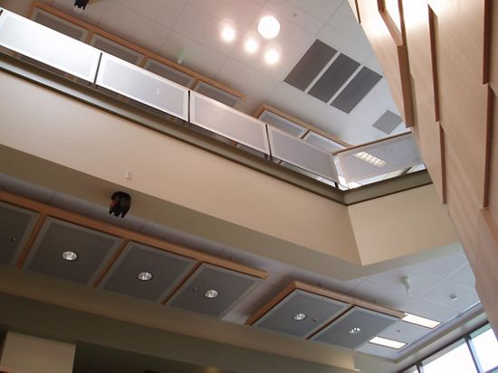 McNICHOLS Perforated Metal applied as railing infill panels and ceiling tiles in a college building located in Spokane, WA