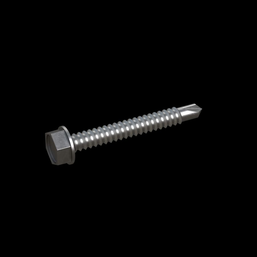 "McNICHOLS® Accessories Hardware, Galvanized Steel, Hot Dipped, No. 14 Self-Drilling Hex Screws (1/4"" Diameter x 2"" Length), Package of 100 Screws"