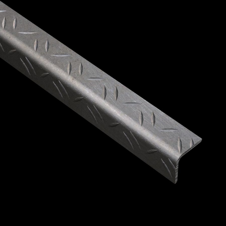 "McNICHOLS® Accessories Nosing, Carbon Steel, Hot Rolled, 1/8"" Gauge (.1250"" Thick), Checkered Plate Angle Nosing (1-1/4"" Leg x 1-1/4"" Leg)"