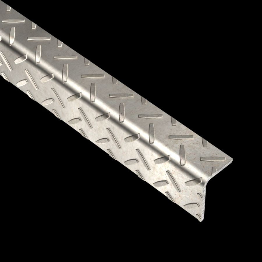 "McNICHOLS® Accessories Nosing, Carbon Steel, Hot Rolled, 1/8"" Gauge (.1250"" Thick), Checkered Plate Angle Nosing (1-1/4"" Leg x 1-3/4"" Leg)"
