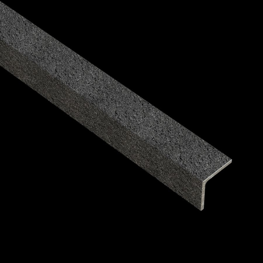 """McNICHOLS® Accessories Nosing, GRIP TIGHT®, Carbon Steel, Hot Rolled, GRIP TIGHT® Steel Oxide Grit Coating, 3/16"""" Gauge (.1875"""" Thick), 90° Angle Nosing, Equal Legs (1-1/4"""" Leg x 1-1/4"""" Leg), Slip-Resistant Surface"""