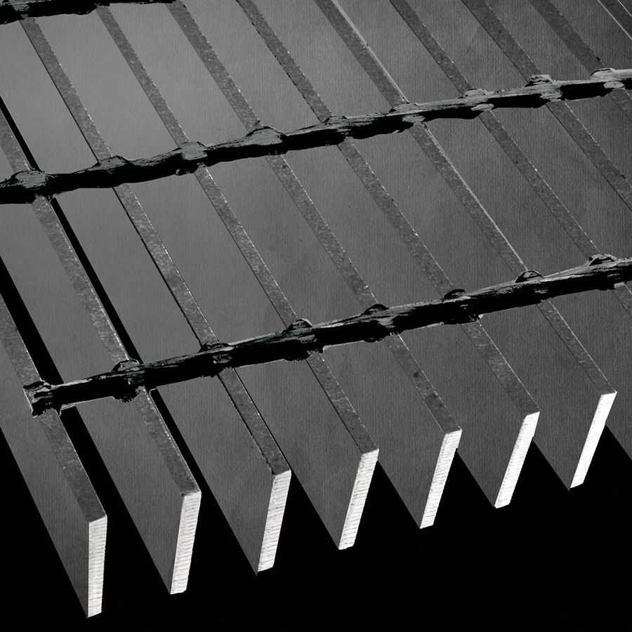 "McNICHOLS® Bar Grating Heavy-Duty Welded, Rectangular Bar, GHB-200, 19-W-4 Spacing, Carbon Steel, Hot Rolled - Painted Black, 2"" x 1/4"" Rectangular Bar, Smooth Surface, 72% Open Area"