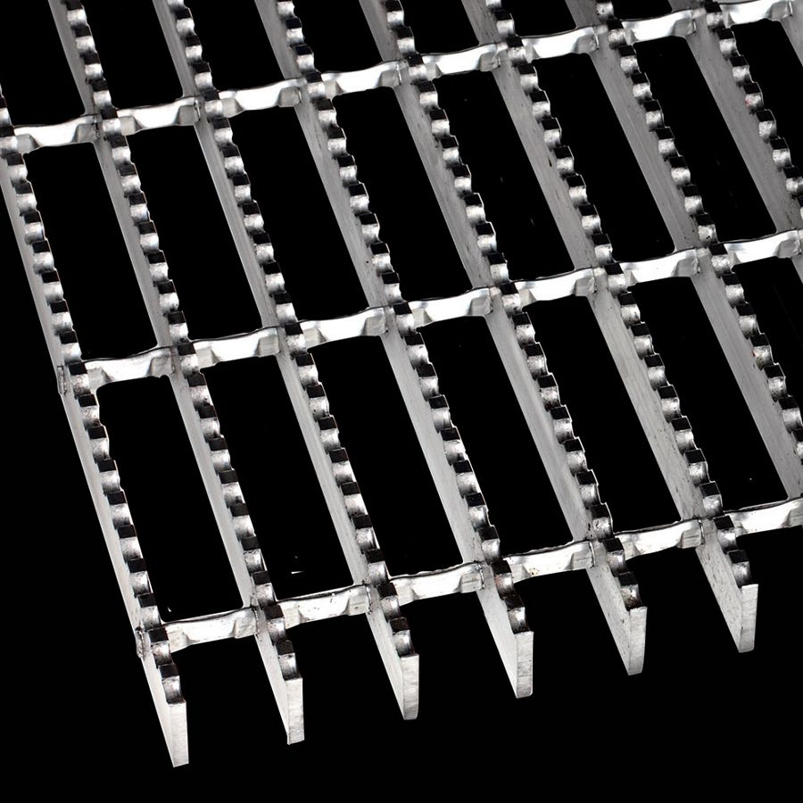 "McNICHOLS® Bar Grating Swage-Locked, Rectangular Bar, GAL-100, 19-S-4 Spacing, Aluminum, Alloy 6063-T6, 1"" x 3/16"" Rectangular Bar, Serrated Surface, 77% Open Area"