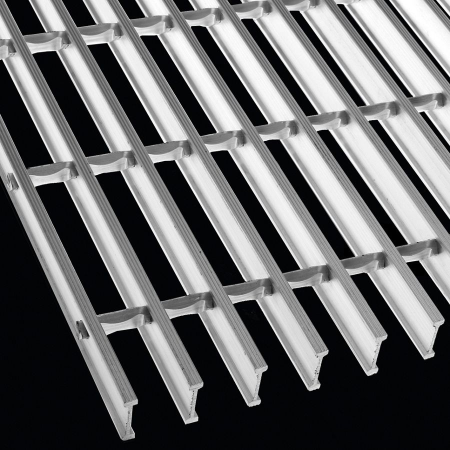 "McNICHOLS® Bar Grating Swage-Locked, I-Bar, GIA-100, 19-SI-4 Spacing, Aluminum, Alloy 6063-T6, 1"" x 1/4"" I-Bar, Grooved Surface, 75% Open Area"