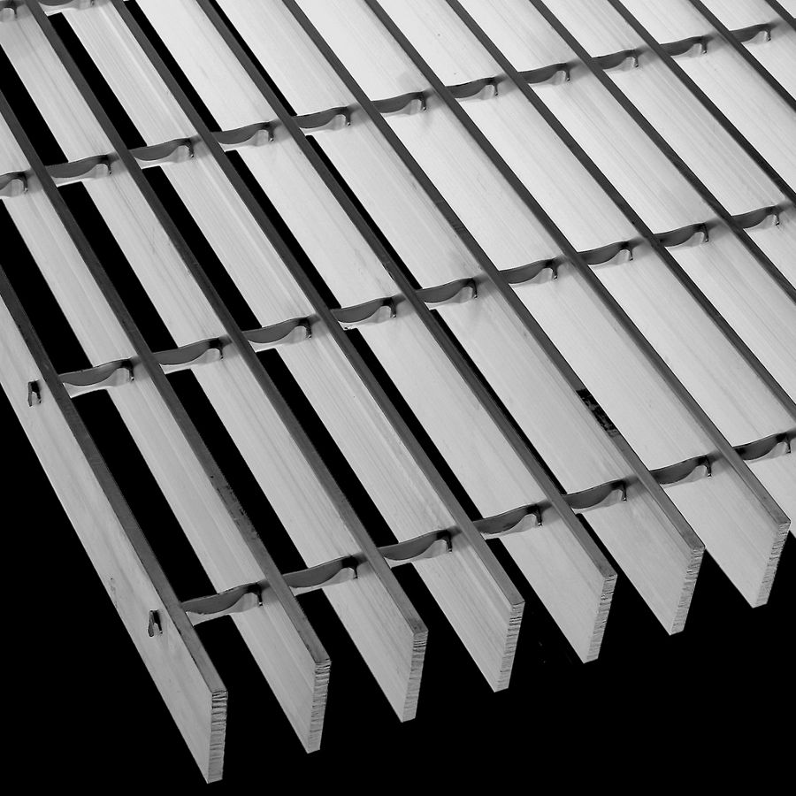 "McNICHOLS® Bar Grating Swage-Locked, Rectangular Bar, GAL-150, 19-S-4 Spacing, Aluminum, Alloy 6063-T6, 1-1/2"" x 3/16"" Rectangular Bar, Smooth Surface, 77% Open Area"
