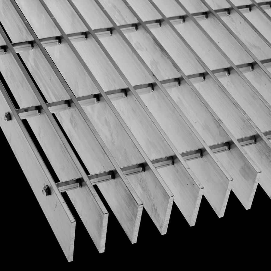 "McNICHOLS® Bar Grating Swage-Locked, Rectangular Bar, GAL-200, 19-S-4 Spacing, Aluminum, Alloy 6063-T6, 2"" x 3/16"" Rectangular Bar, Smooth Surface, 77% Open Area"