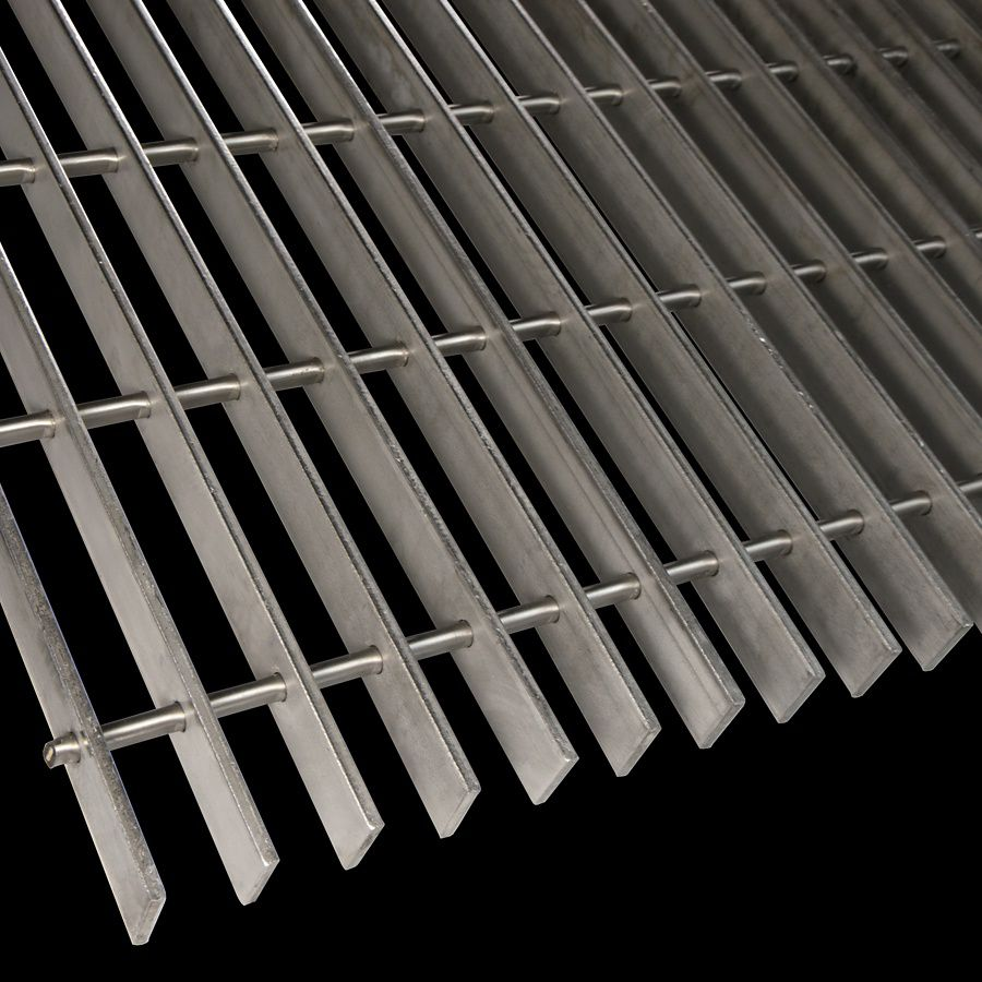"McNICHOLS® Bar Grating Swage-Locked, Rectangular Bar, GSL-100, 19-S-4 Spacing, Stainless Steel, Type 304, 1"" x 3/16"" Rectangular Bar, Smooth Surface, 77% Open Area"