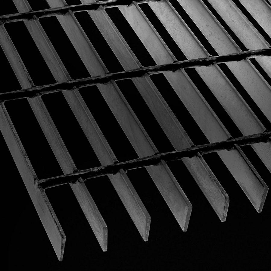 "McNICHOLS® Bar Grating Welded, Rectangular Bar, GW-100-A, 19-W-4 Spacing, Carbon Steel, Hot Rolled - Painted Black, 1"" x 1/8"" Rectangular Bar, Smooth Surface, 83% Open Area"
