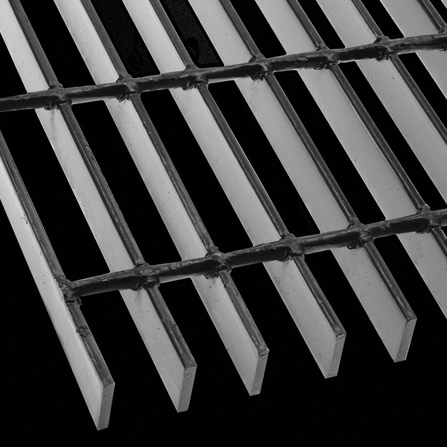 "McNICHOLS® Bar Grating Welded, Rectangular Bar, GW-100, 19-W-4 Spacing, Carbon Steel, Hot Rolled - Painted Black, 1"" x 3/16"" Rectangular Bar, Smooth Surface, 77% Open Area"