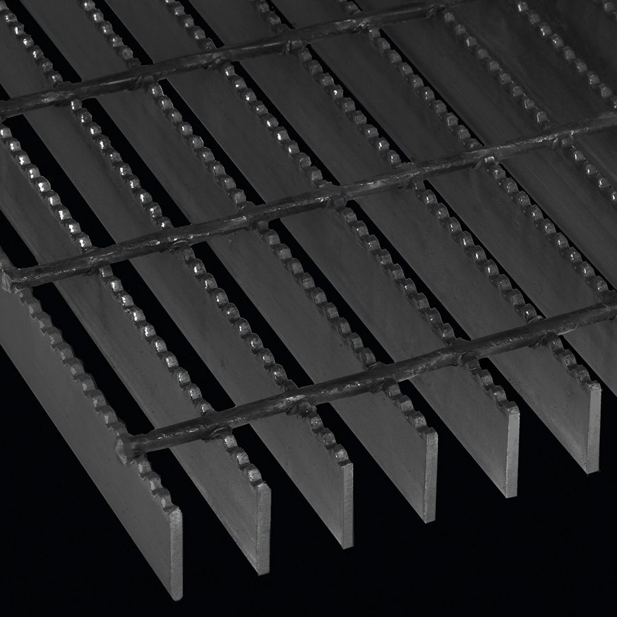 """McNICHOLS® Bar Grating Welded, GW-150,  19-W-4 Spacing, Powder Coated Black, Hot Rolled, 1-1/2"""" x 3/16"""" Rectangular Bar, Serrated Surface, 77% Open Area"""