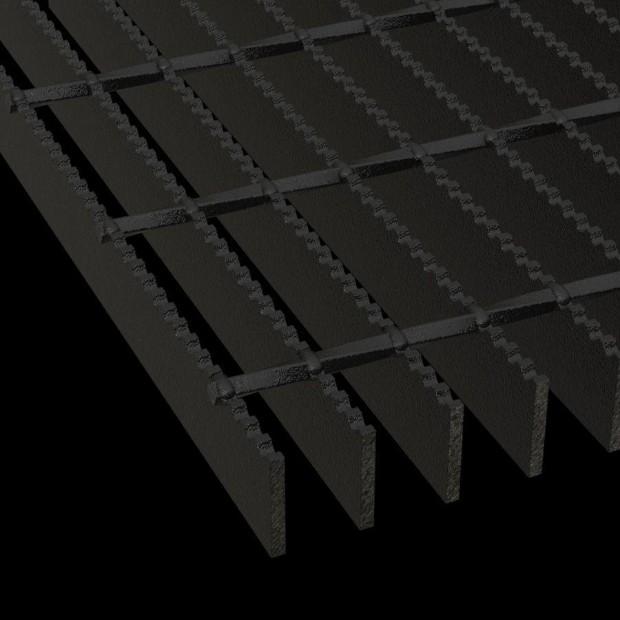 "McNICHOLS® Bar Grating Welded, GW-150,  19-W-4 Spacing, Powder Coated Black, 1-1/2"" x 3/16"" Rectangular Bar, Serrated Surface, 77% Open Area"