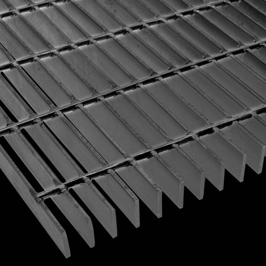 "McNICHOLS® Bar Grating Welded, Rectangular Bar, SGW-150, 15-W-4 Spacing, Carbon Steel, Hot Rolled - Painted Black, 1-1/2"" x 3/16"" Rectangular Bar, Smooth Surface, 74% Open Area"