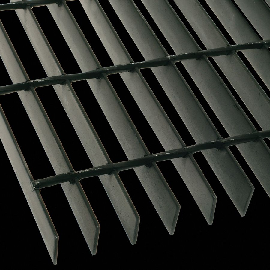 """McNICHOLS® Bar Grating Welded, GW-125-A,  19-W-4 Spacing, Powder Coated Black, Hot Rolled, 1-1/4"""" x 1/8"""" Rectangular Bar, Smooth Surface, 83% Open Area"""