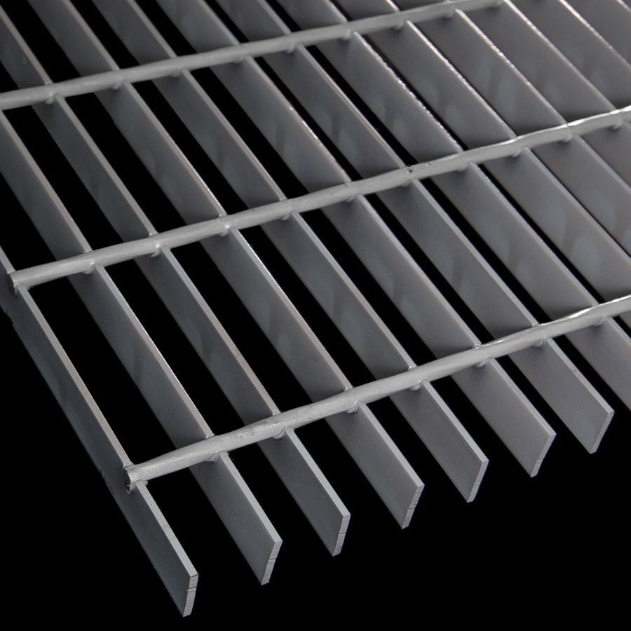 "McNICHOLS® Bar Grating Welded, Rectangular Bar, GW-100-A, 19-W-4 Spacing, Carbon Steel, Hot Rolled - Painted Gray, 1"" x 1/8"" Rectangular Bar, Smooth Surface, 83% Open Area"