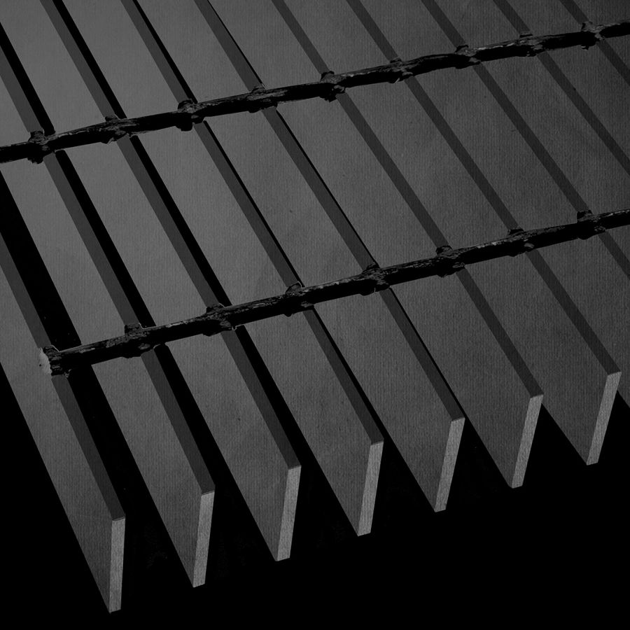 "McNICHOLS® Bar Grating Welded, Rectangular Bar, GW-200, 19-W-4 Spacing, Carbon Steel, Hot Rolled - Painted Black, 2"" x 3/16"" Rectangular Bar, Smooth Surface, 77% Open Area"