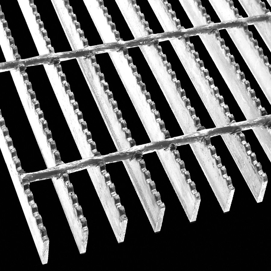 "McNICHOLS® Bar Grating Welded, Rectangular Bar, GW-150, 19-W-4 Spacing, Galvanized Steel, Hot Dipped, 1-1/2"" x 3/16"" Rectangular Bar, Serrated Surface, 77% Open Area"