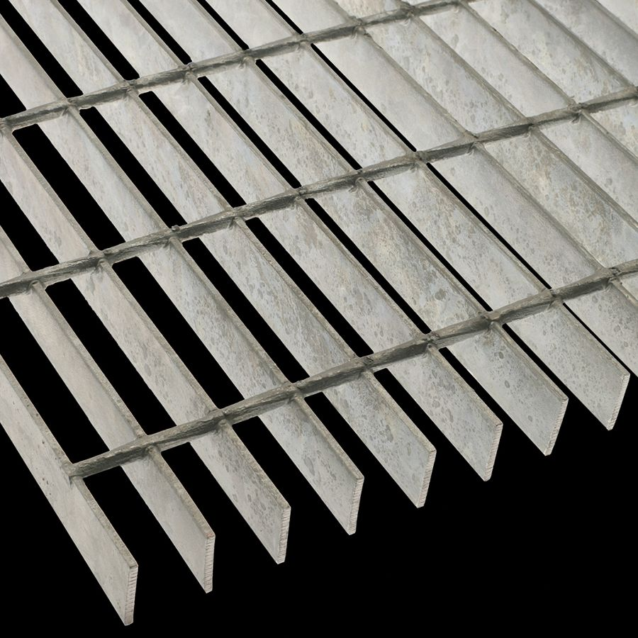 "McNICHOLS® Bar Grating Welded, Rectangular Bar, GW-125-A, 19-W-4 Spacing, Galvanized Steel, Hot Dipped, 1-1/4"" x 1/8"" Rectangular Bar, Smooth Surface, 83% Open Area"