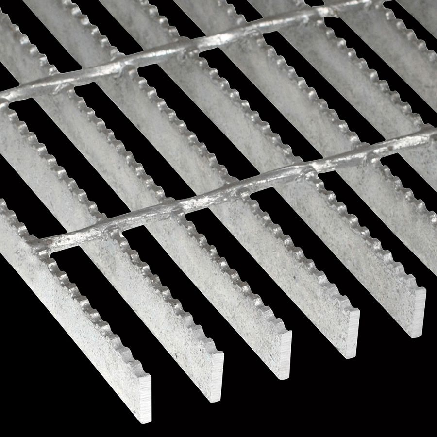 "McNICHOLS® Bar Grating Welded, GW-125, 19-W-4 Spacing, Galvanized, 1-1/4"" x 3/16"" Rectangular Bar, Serrated Surface, 77% Open Area"