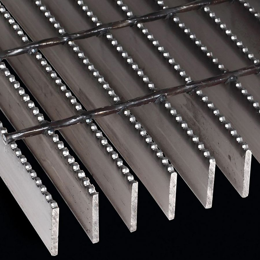 "McNICHOLS® Bar Grating Welded, Rectangular Bar, GW-200, 19-W-4 Spacing, Galvanized Steel, Hot Dipped, 2"" x 3/16"" Rectangular Bar, Serrated Surface, 77% Open Area"