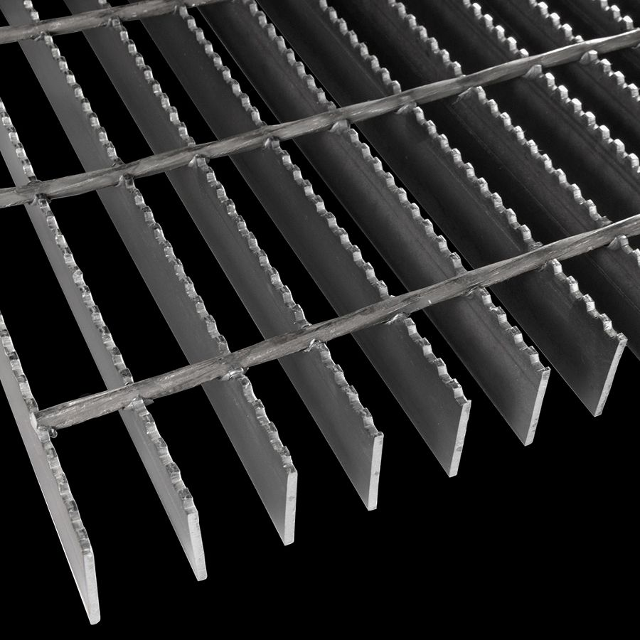 "McNICHOLS® Bar Grating Welded, Rectangular Bar, GW-150-A, 19-W-4 Spacing, Carbon Steel, Hot Rolled, 1-1/2"" x 1/8"" Rectangular Bar, Serrated Surface, 83% Open Area"