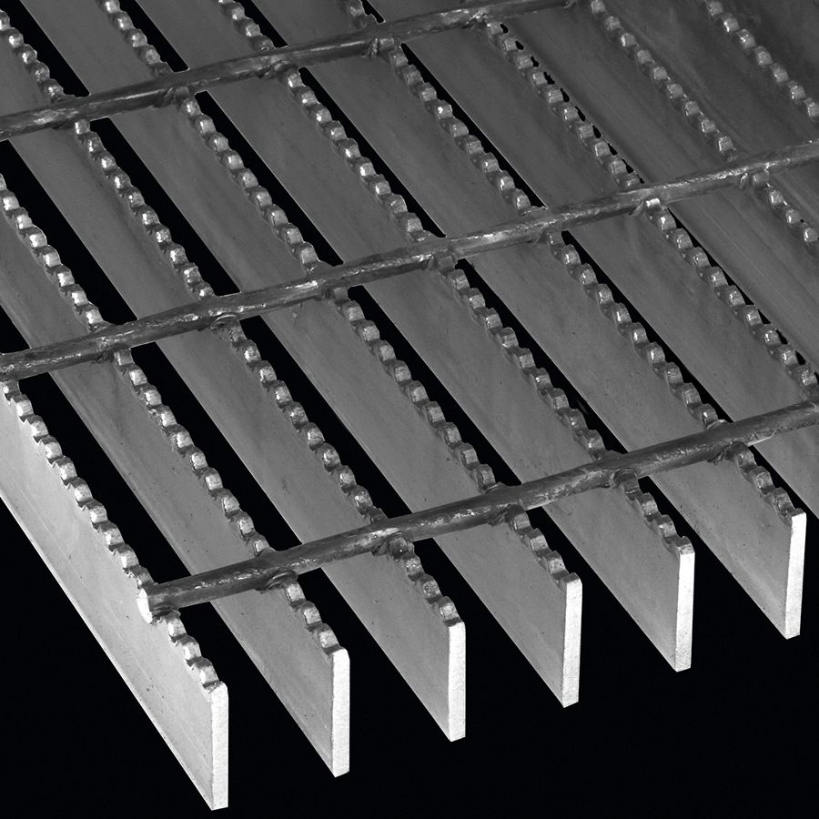"McNICHOLS® Bar Grating Welded, GW-150, 19-W-4 Spacing, Carbon Steel, Hot Rolled, 1-1/2"" x 3/16"" Rectangular Bar, Serrated Surface, 77% Open Area"