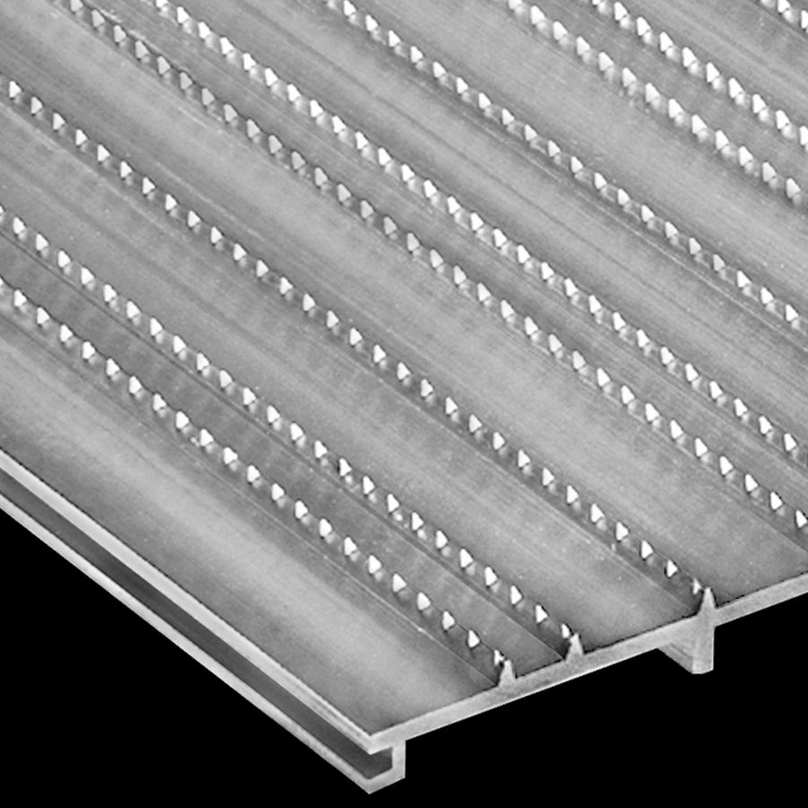 "McNICHOLS® Decking & Flooring Extruded Interlocking Flooring, DIAMONDBACK®, ADA, Aluminum, Alloy 6061-T6 Extrusion, Solid (12"" Width), 0.360"" Height, Diamond-Serrated Surface, 0% Open Area"