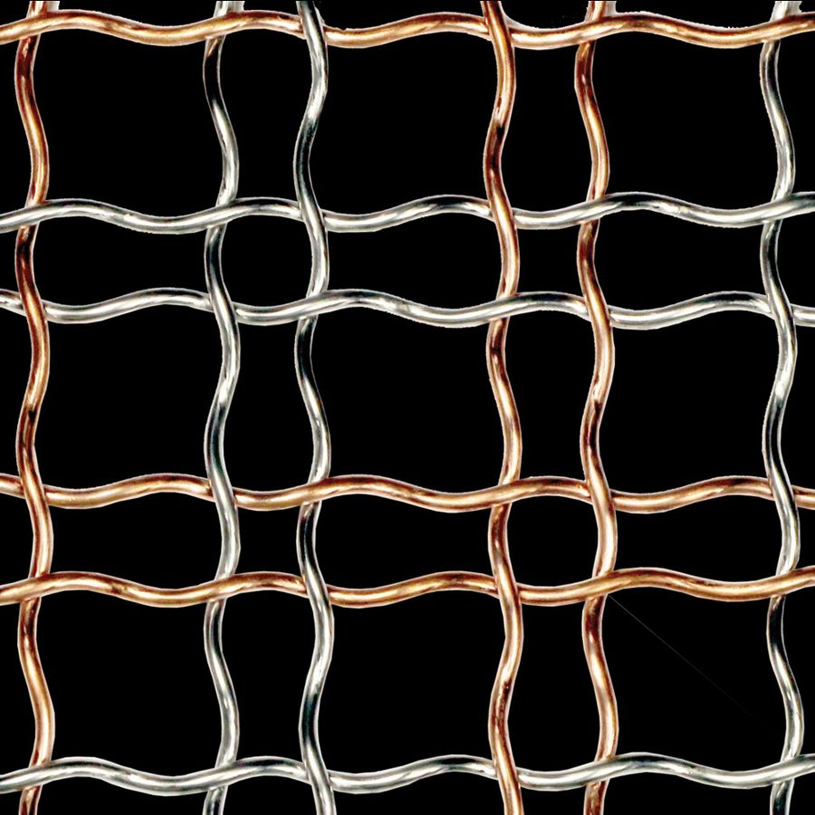 McNICHOLS® Wire Mesh Designer Mesh, HALO™ 4474, Copper/Stainless Steel, Copper Alloy/Type 304, Woven - Helical (Spiral) Crimp Weave, 74% Open Area