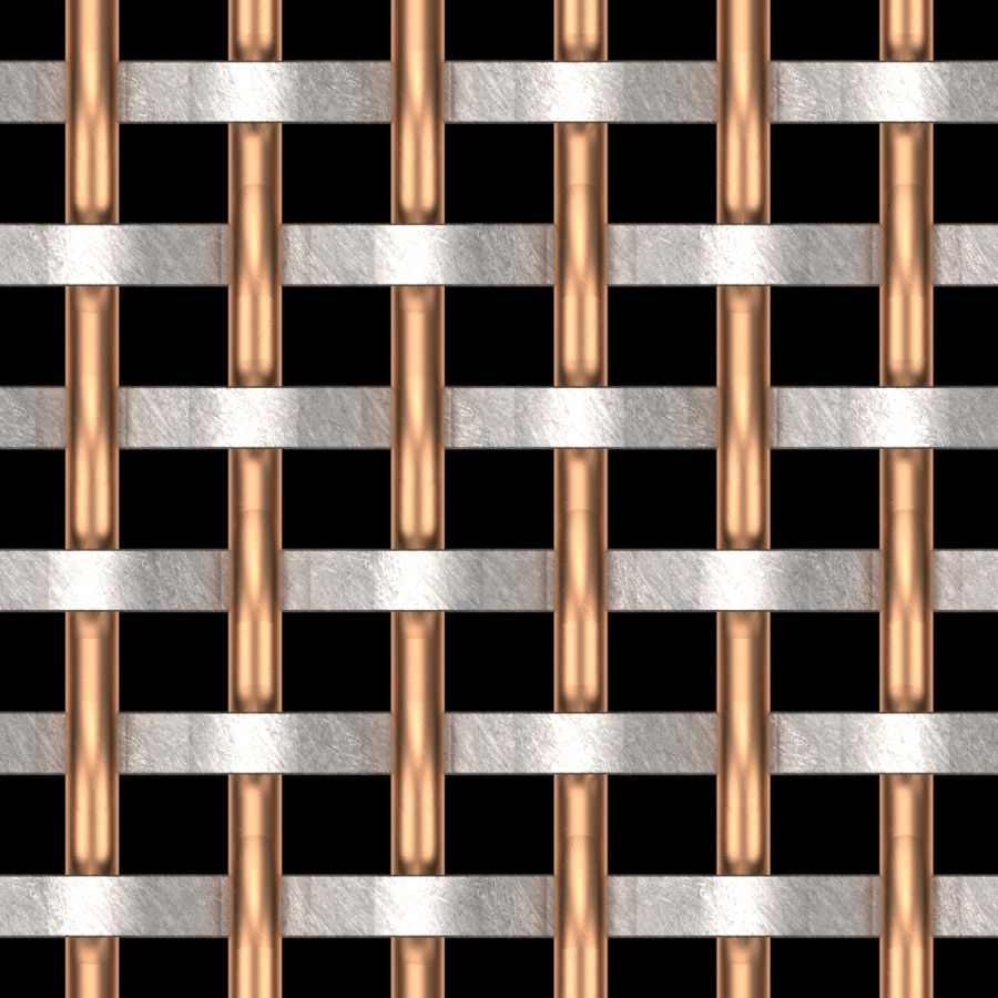 McNICHOLS® Wire Mesh Designer Mesh, SHIRE™ 8148, Copper/Stainless Steel, Copper Alloy/Type 304, Woven - Flat Warp/Round Fill Weave, 41% Open Area
