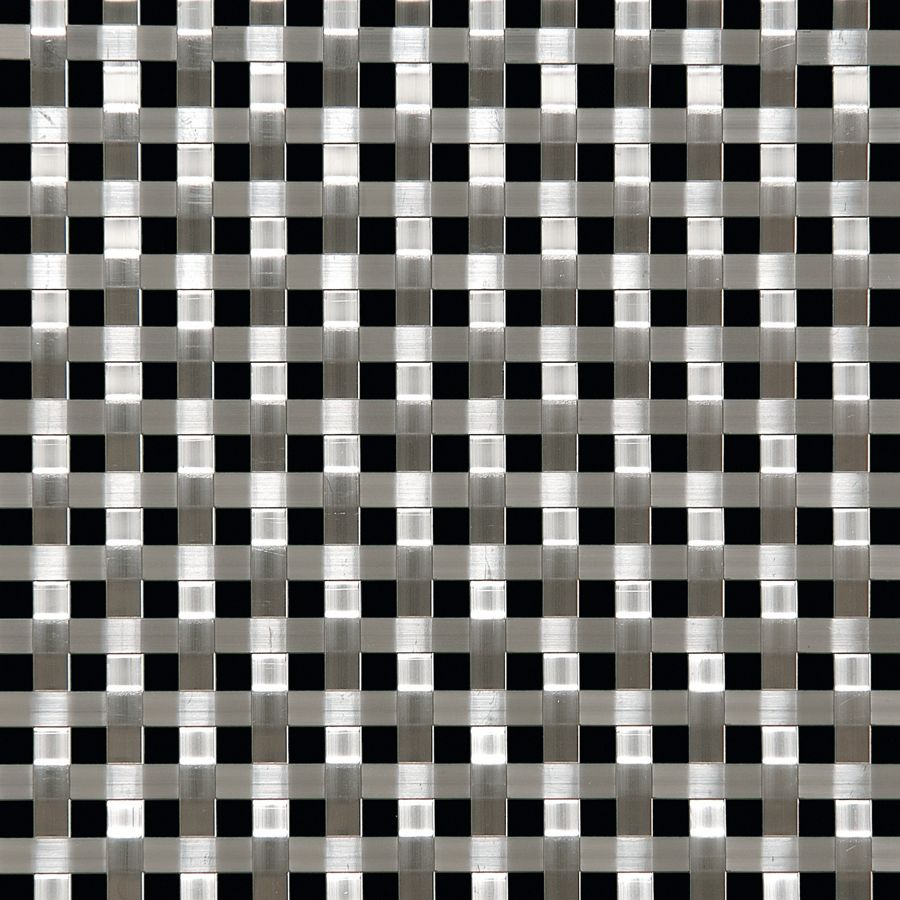 McNICHOLS® Wire Mesh Designer Mesh, ASHLAND™ 8018, Stainless Steel (SS), Type 304, Woven - Flat Wire (Basket Look) Weave, 25% Open Area