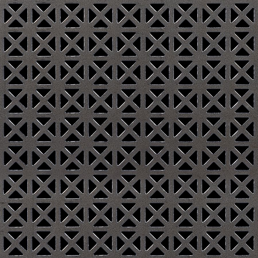 "McNICHOLS® Perforated Metal Designer Perforated, GRECIAN 2235, Carbon Steel, Cold Rolled, 22 Gauge (.0299"" Thick), 5/8"" Square (Four 3/8"" Interior Triangles) on 3/4"" Straight Centers, 35% Open Area"