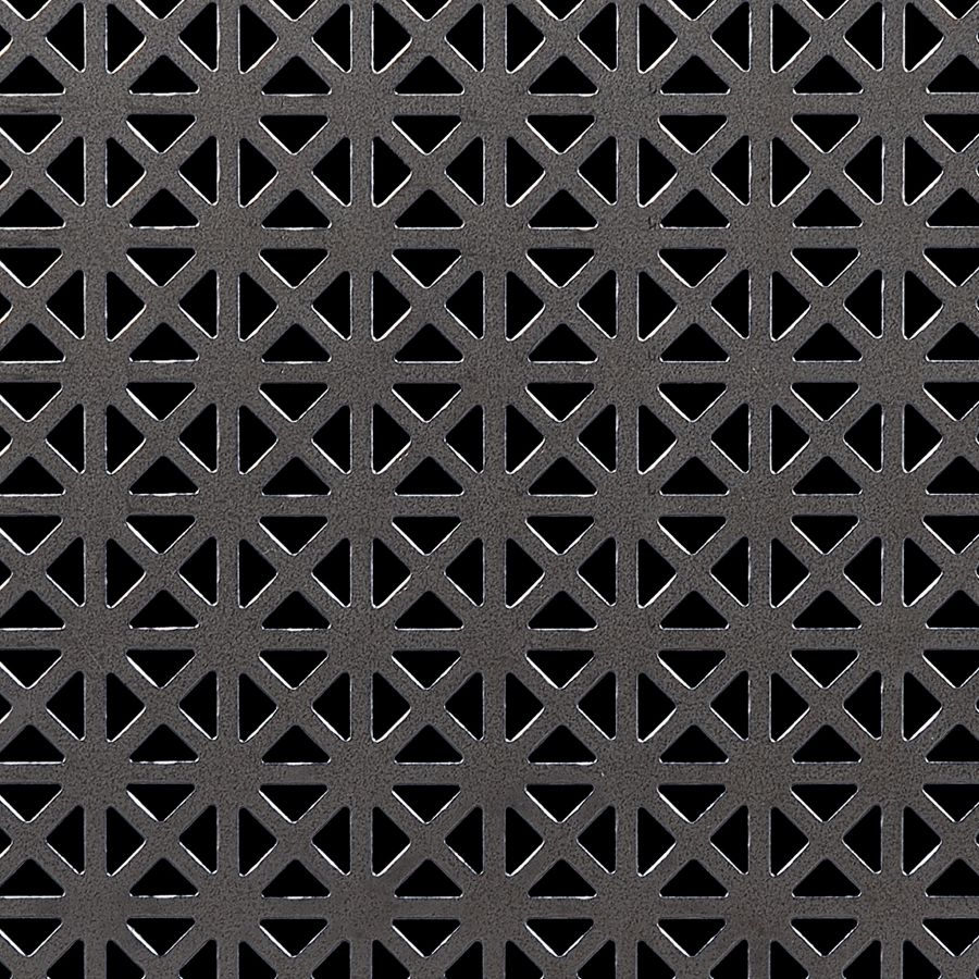 "McNICHOLS® Perforated Metal Designer Perforated, GRECIAN 2435, Carbon Steel, Cold Rolled, 24 Gauge (.0239"" Thick), 5/8"" Square (Four 3/8"" Interior Triangles) on 3/4"" Straight Centers, 35% Open Area"