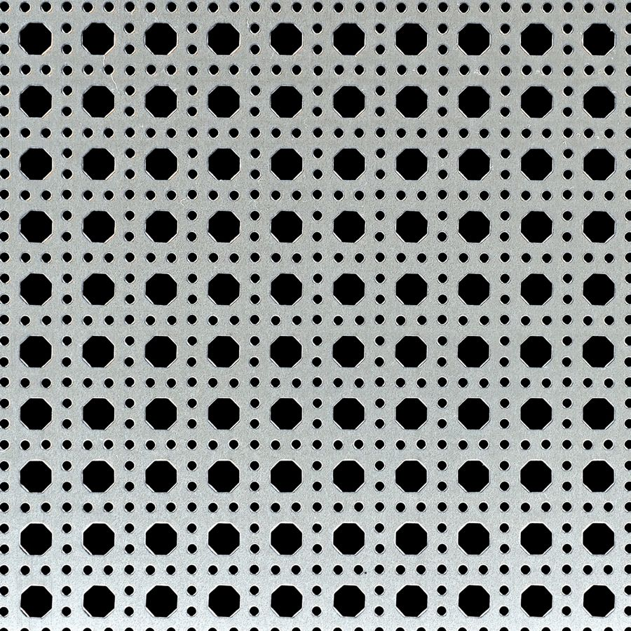 "McNICHOLS® Perforated Metal Designer Perforated, OCTAGON CANE 2236, Carbon Steel, Cold Rolled, 22 Gauge (.0299"" Thick), 9/32"" Octagons Framed by 7/64"" Round Holes, 36% Open Area"