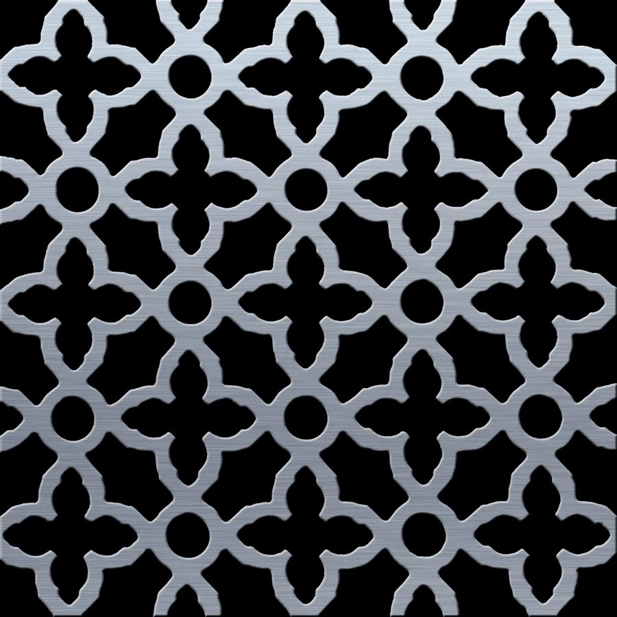 "McNICHOLS® Perforated Metal Designer Perforated, MAJESTIC 2040, Carbon Steel, Cold Rolled, 20 Gauge (.0359"" Thick), 1"" Cross on 1-3/4"" Straight Centers, 40% Open Area"