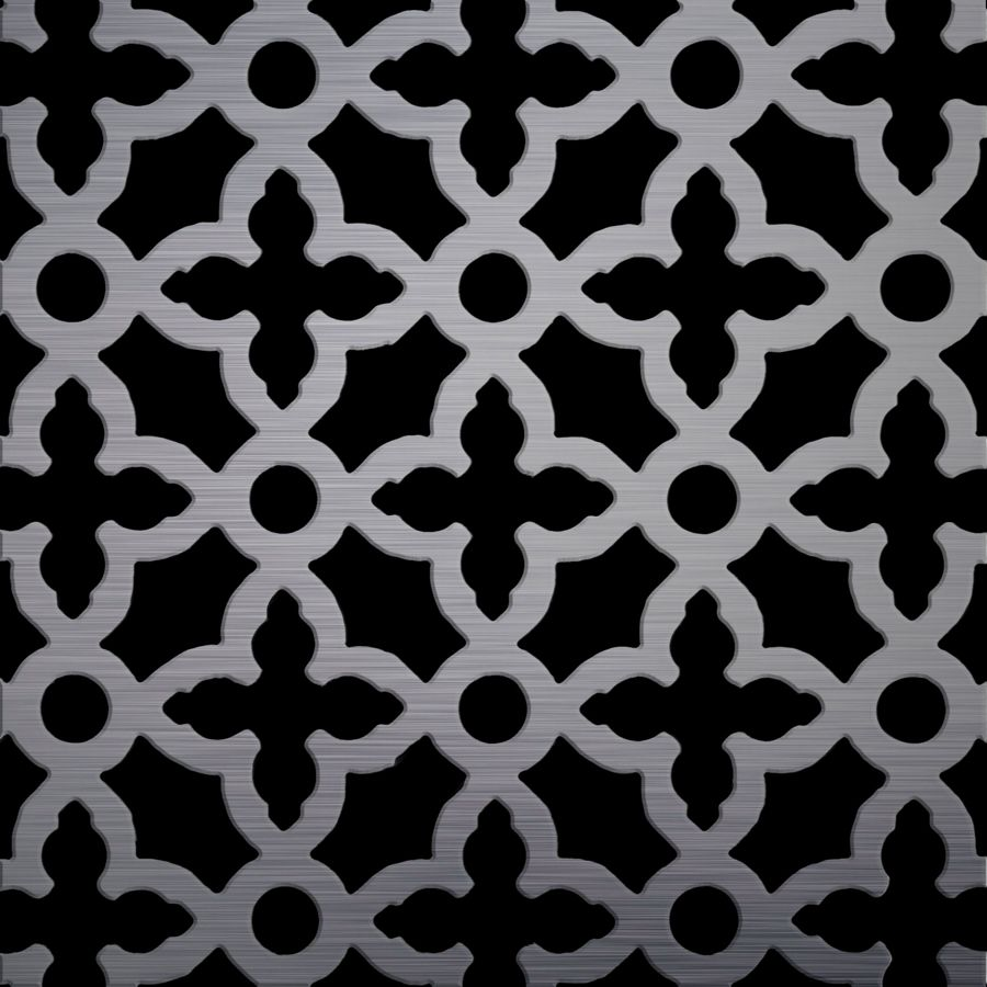 "McNICHOLS® Perforated Metal Designer Perforated, MAJESTIC LARGE 1152, Carbon Steel, HRPO, 11 Gauge (.1196"" Thick), 1-3/4"" Cross on 3-1/16"" Straight Centers, 52% Open Area"
