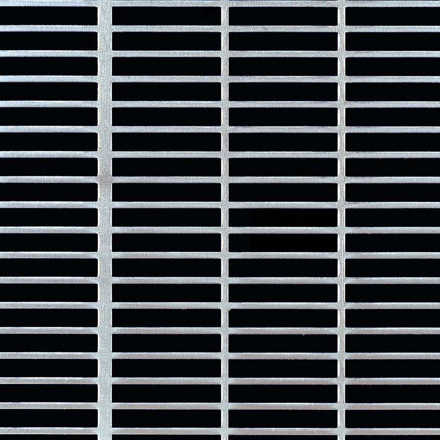 "McNICHOLS® Perforated Metal Designer Perforated, Slotted, AIRLINE 1868, Aluminum, Alloy 3003-H14, .0400"" Thick (18 Gauge), 1-1/2"" x 1/4"" Square-End Slot, Straight Centers, 68% Open Area"