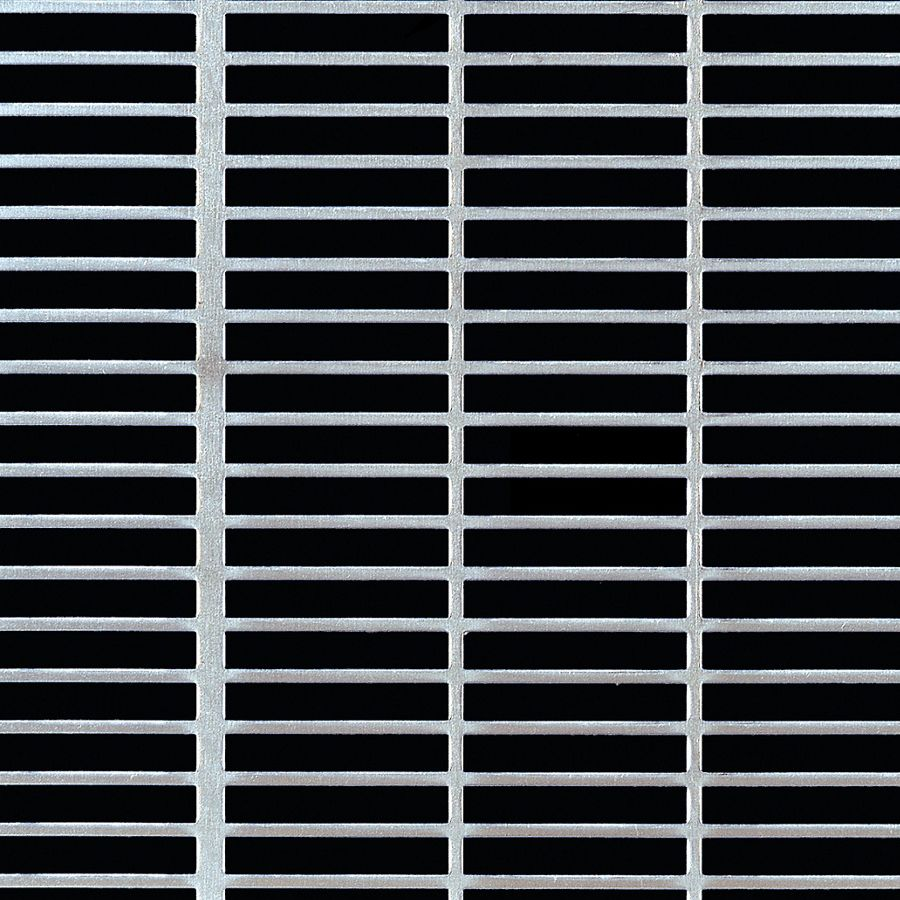 "McNICHOLS® Perforated Metal Designer Perforated, Slotted, AIRLINE 1468, Aluminum, Alloy 3003-H14, .0630"" Thick (14 Gauge), 1-1/2"" x 1/4"" Square-End Slot, Straight Centers, 68% Open Area"