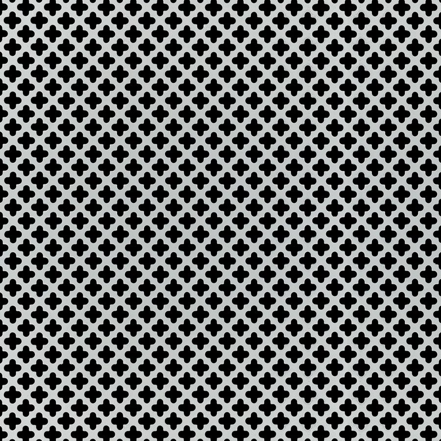 "McNICHOLS® Perforated Metal Designer Perforated, CLOVERLEAF 2051, Aluminum, Alloy 3003-H14, .0320"" Thick (20 Gauge), 1/2"" Clover on 3/4"" Staggered Centers, 51% Open Area"
