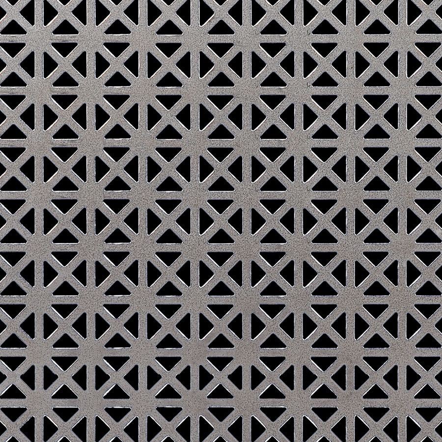 "McNICHOLS® Perforated Metal Designer Perforated, GRECIAN 2035, Aluminum, Alloy 3003-H14, .0320"" Thick (20 Gauge), 5/8"" Square (Four 3/8"" Interior Triangles) on 3/4"" Straight Centers, 35% Open Area"