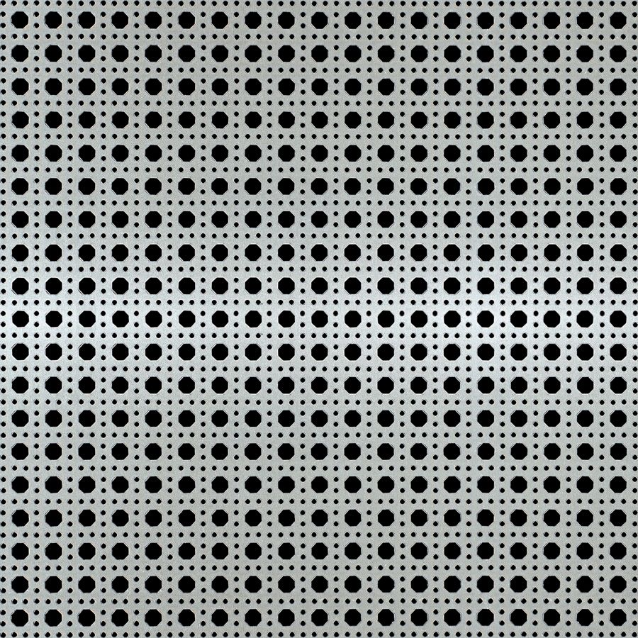 "McNICHOLS® Perforated Metal Designer Perforated, OCTAGON CANE 2036, Aluminum, Alloy 3003-H14, .0320"" Thick (20 Gauge), 9/32"" Octagons Framed by 7/64"" Round Holes, 36% Open Area"
