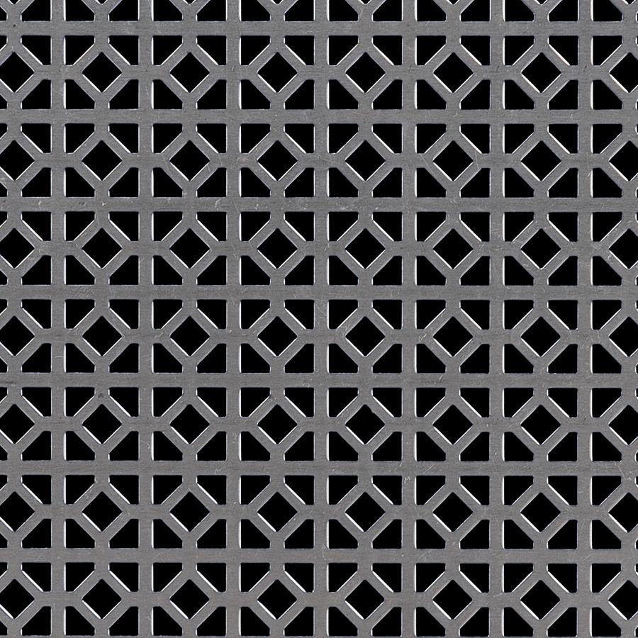 "McNICHOLS® Perforated Metal Designer Perforated, WINDSOR 1845, Aluminum, Alloy 3003-H14, .0400"" Thick (18 Gauge), 5/8"" Square (1/4"" Interior Diamond) on 3/4"" Straight Centers, 45% Open Area"