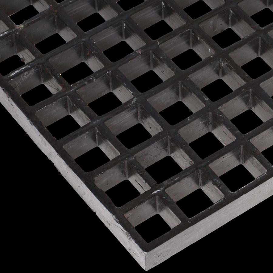 "McNICHOLS® Fiberglass Grating Molded, MS-S-100, Fiberglass, SGF Polyester Resin, Dark Gray, 1"" Grid Height, 1-1/2"" x 1-1/2"" Square Grid, Concave Surface, 70% Open Area"