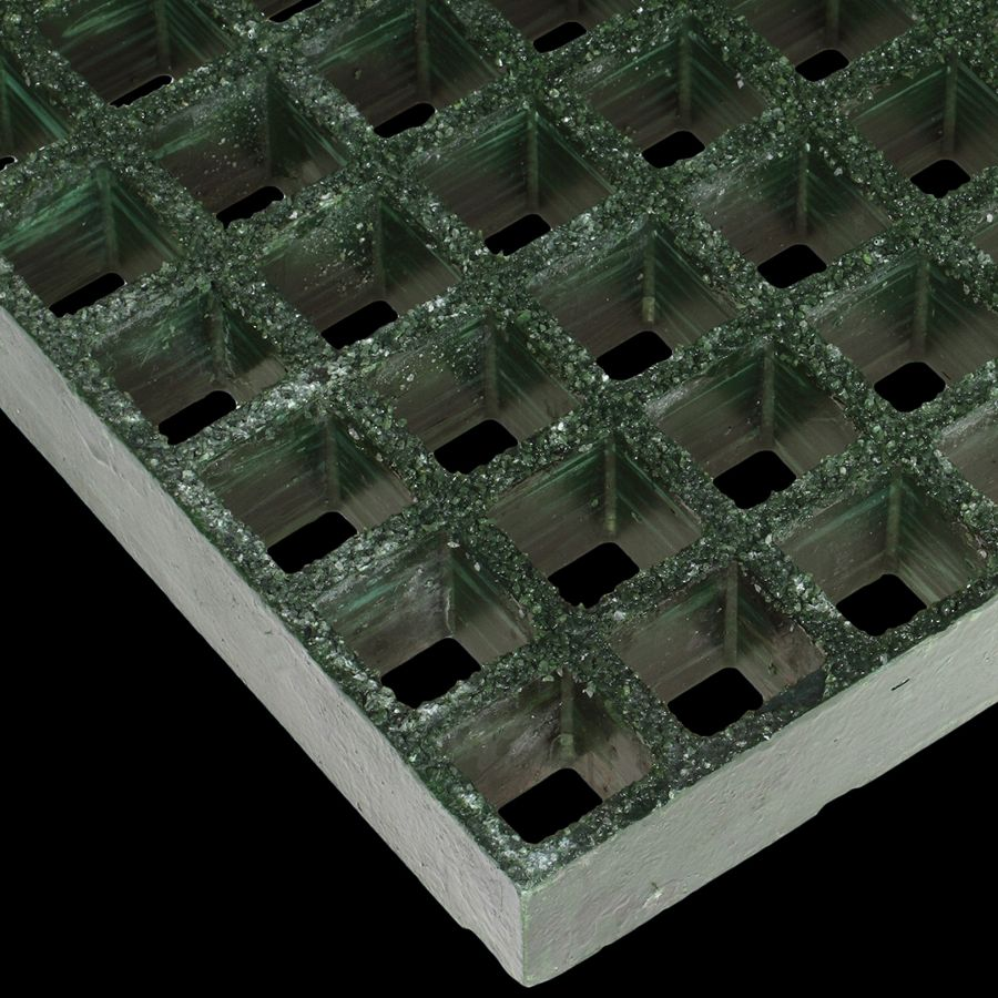 "McNICHOLS® Fiberglass Grating Molded, Square, MS-S-100, Fiberglass, SGF Polyester Resin, Green, 1"" Grid Height, 1-1/2"" x 1-1/2"" Square Grid, Grit Surface, 70% Open Area"